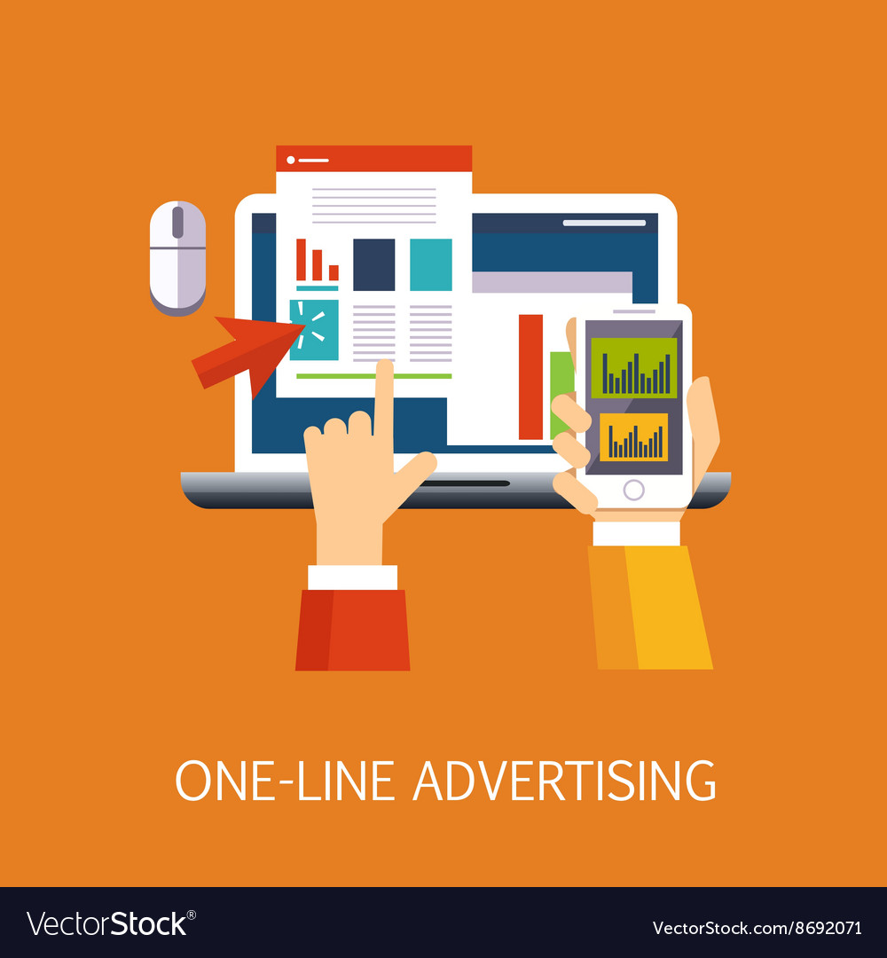 Online advertisement concept art vector