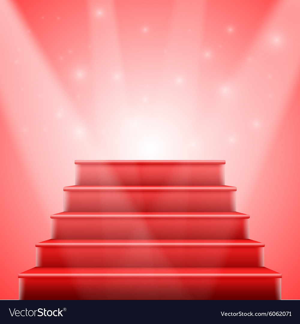 Photorealistic isolated red stairs to stage vector