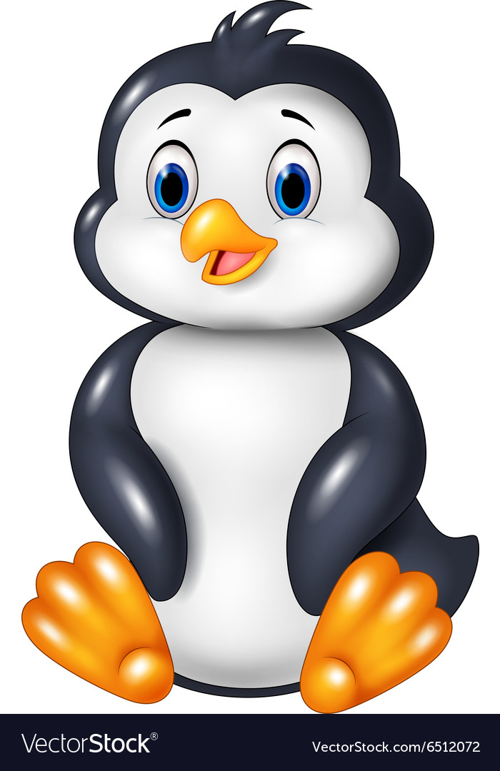 Cartoon funny penguin sitting isolated vector