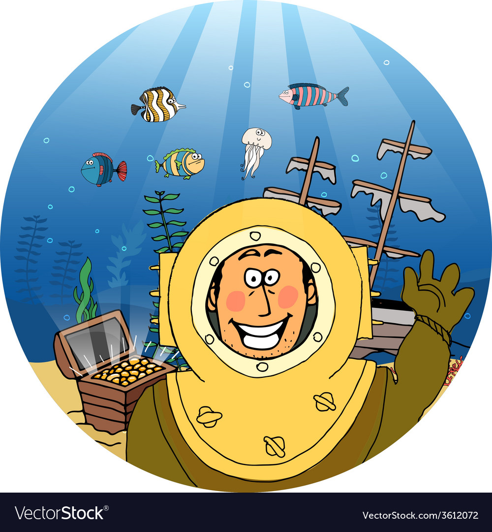Diver with treasure chest vector
