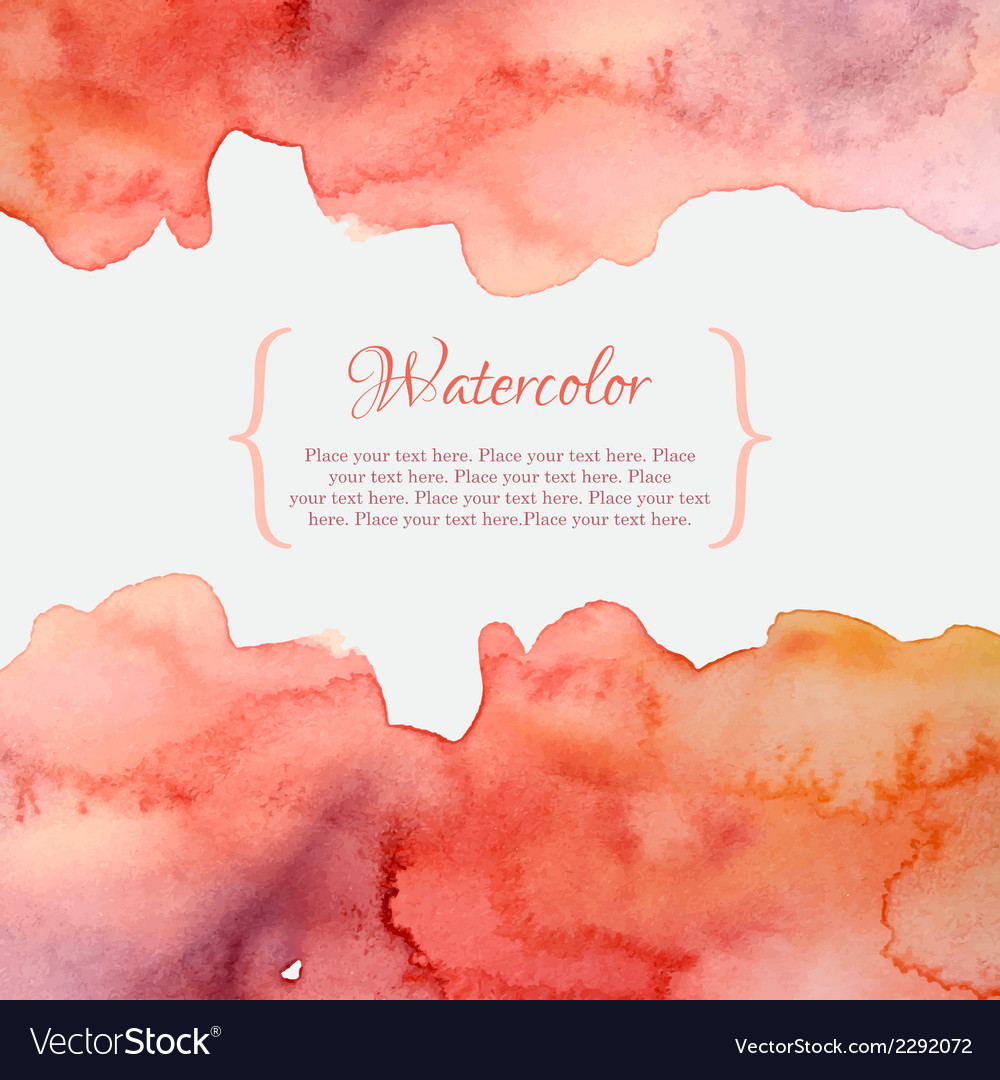 Orange and pink pastel watercolor frame vector