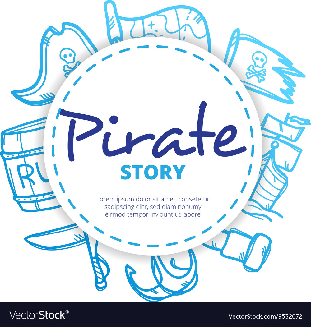 Pirate icons circle composition vector