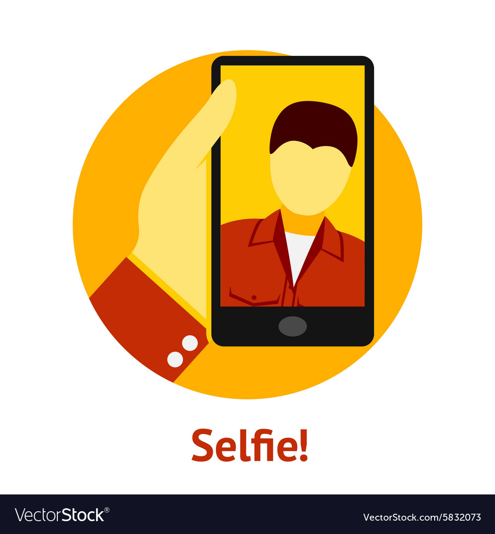 Hand with phone making selfie vector