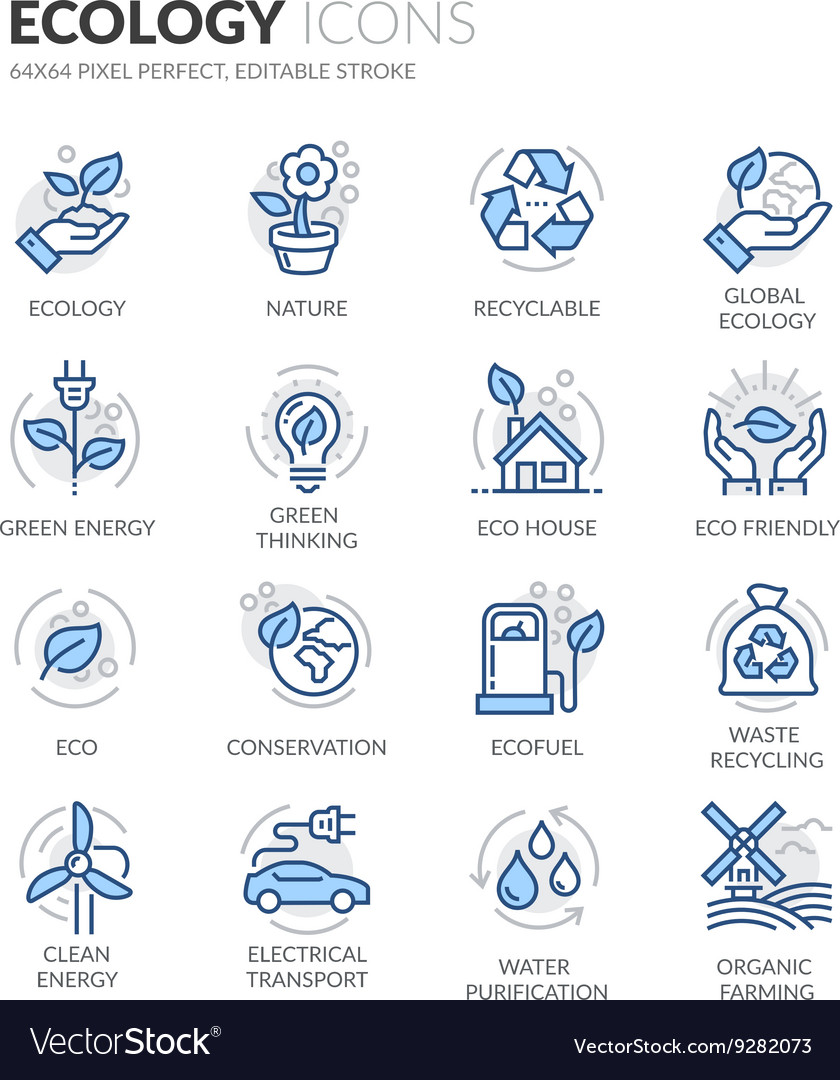 Line ecology icons vector
