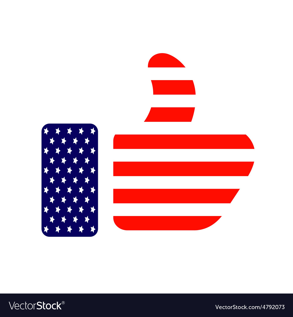 Thumb up colored in american flag icon vector