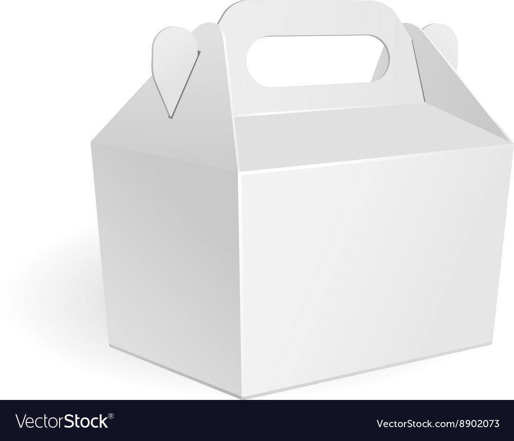 White small cardboard carry box packaging for food vector