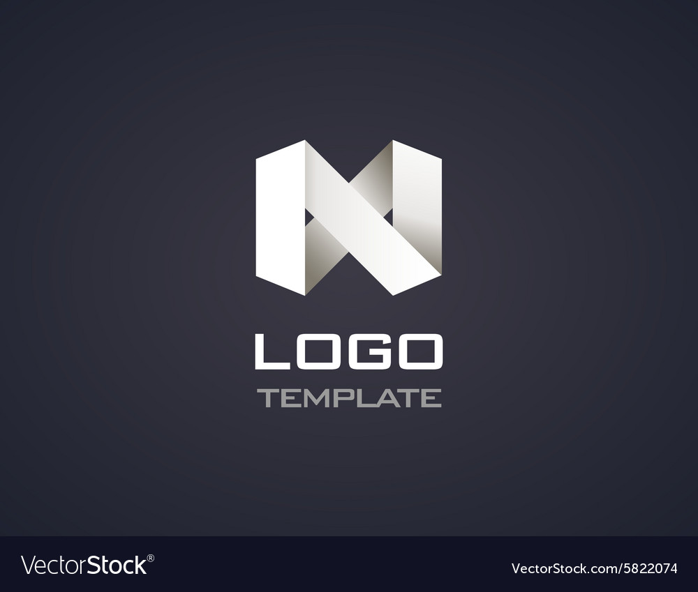 Abstract origami 3d icon logo isolated vector