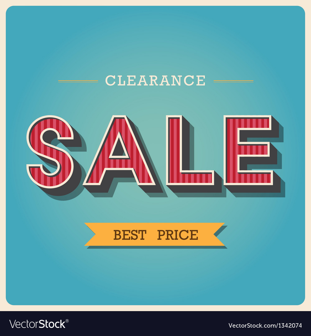 Clearance sale retro type font eps10 vector
