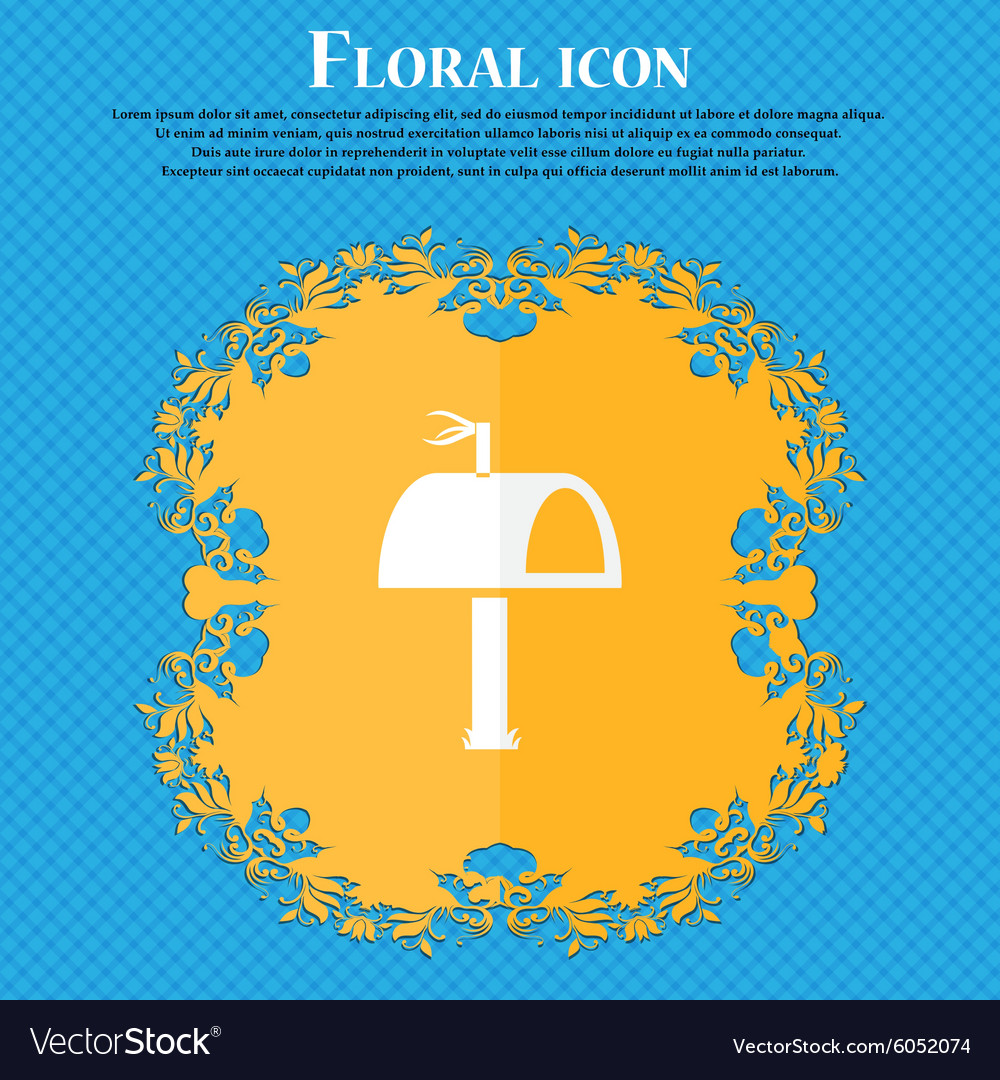 Mailbox icon sign floral flat design on a blue vector