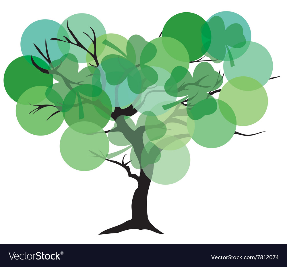 Tree color green shamrock vector