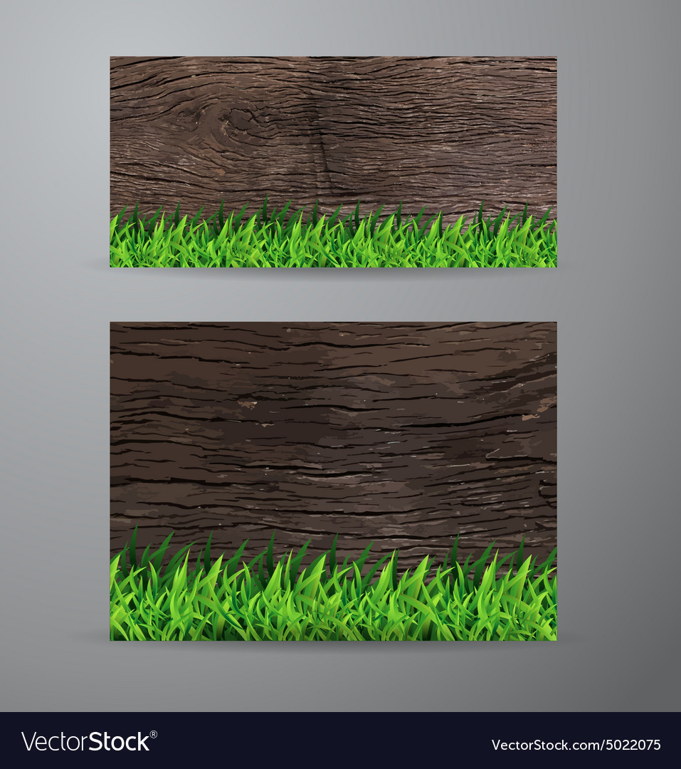 Green grass on wood fence background vector