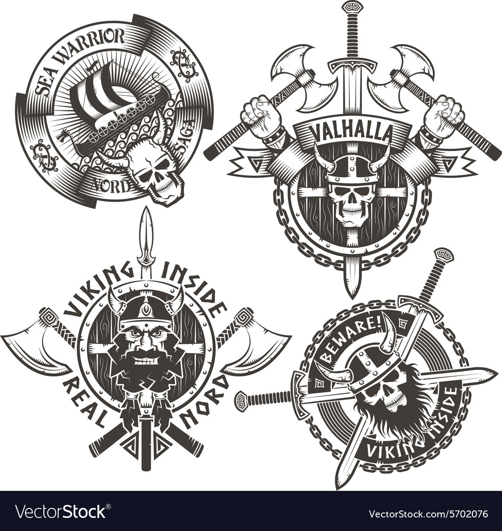 4 original viking emblems vector
