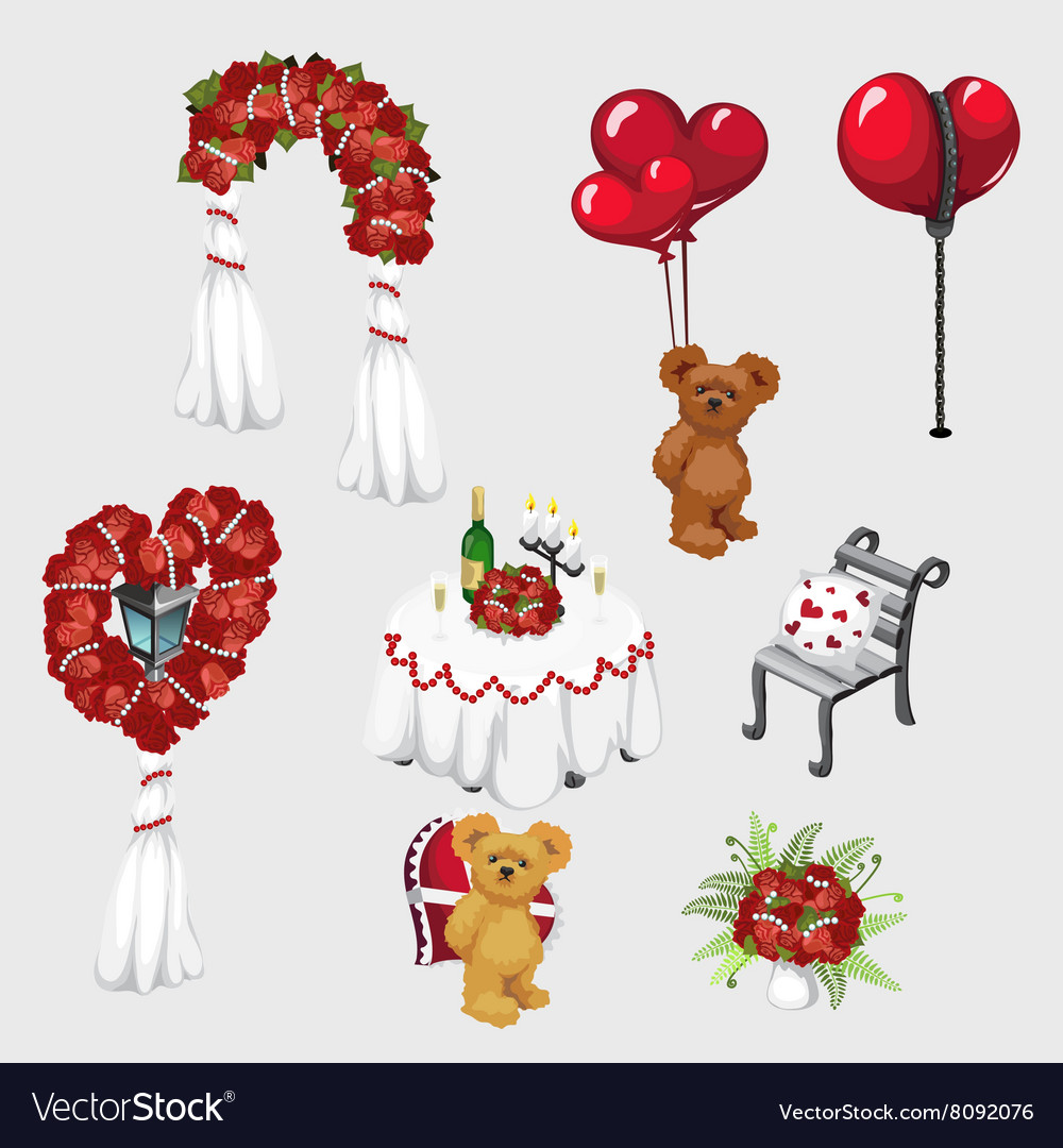 Elements of wedding decor roses and teddy bear vector