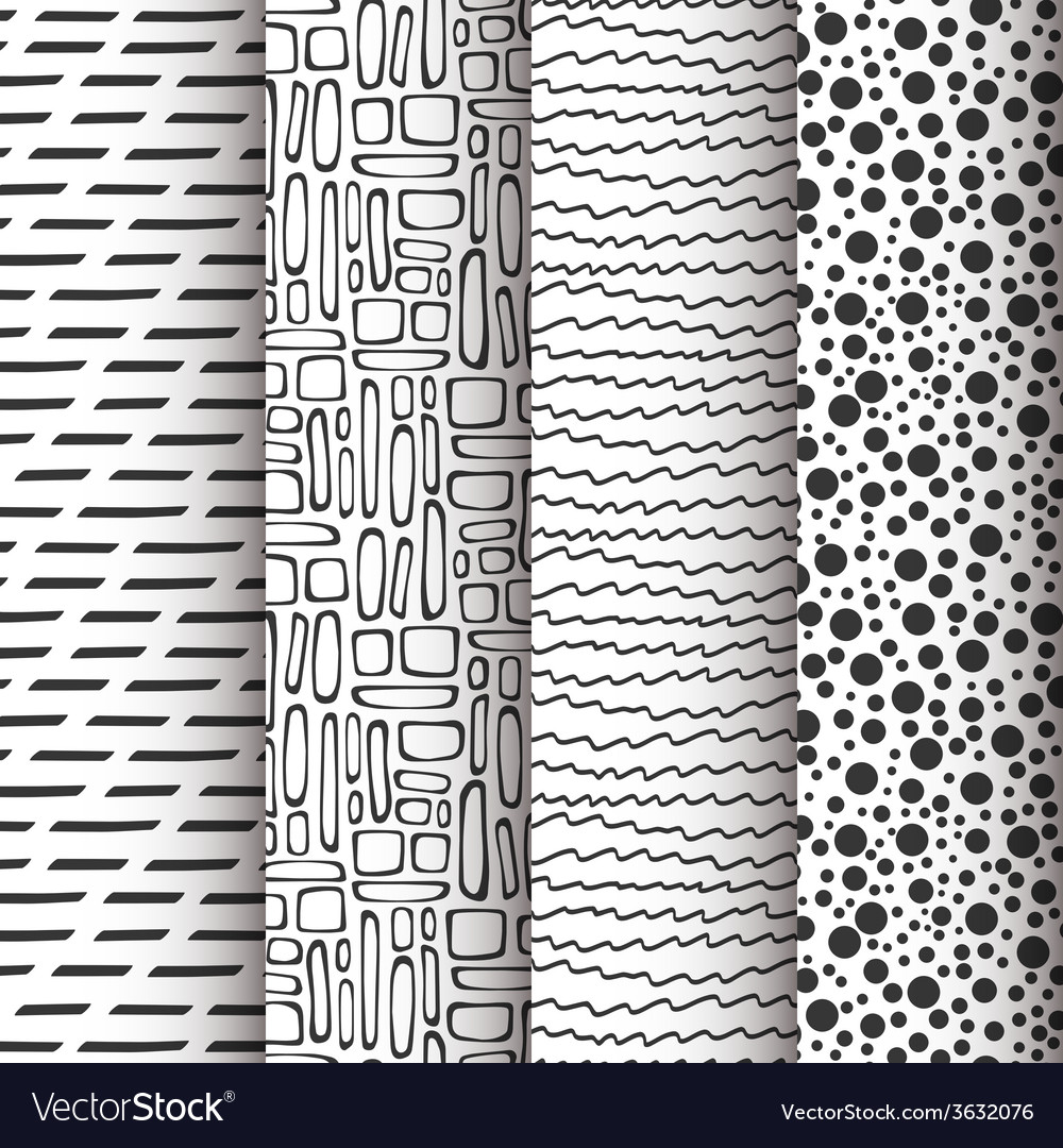 Set of 4 simple doodle seamless patterns vector