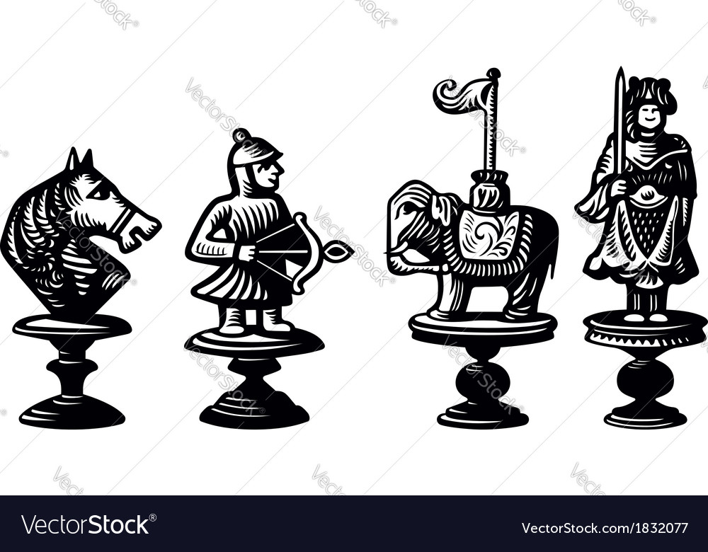 Old chessmen vector