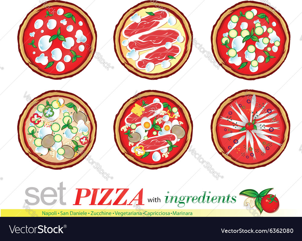 Pizza cartoon set vector