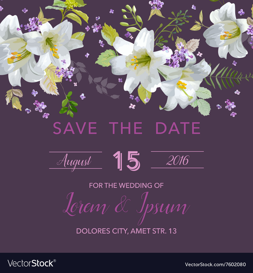 Wedding invitation card  with floral lily vector