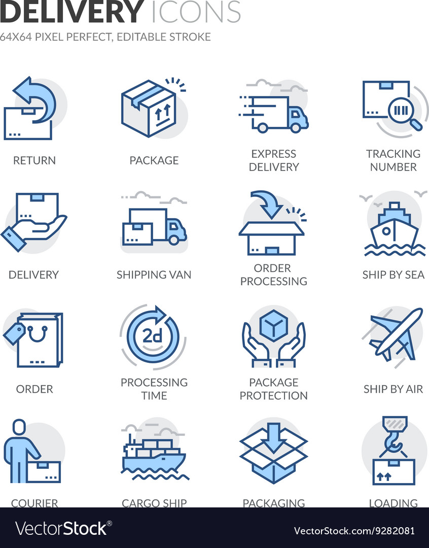 Line delivery icons vector