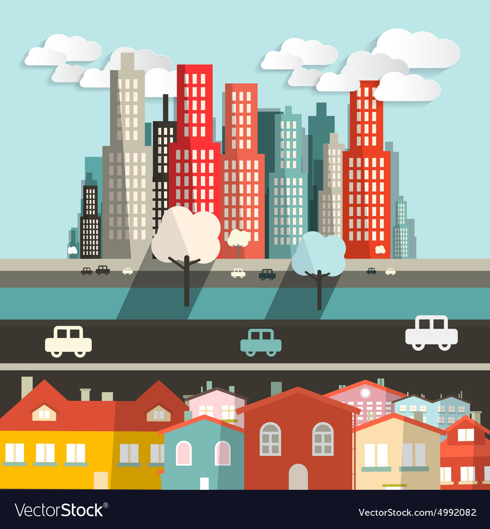 City  houses with highway and skyscrapers vector