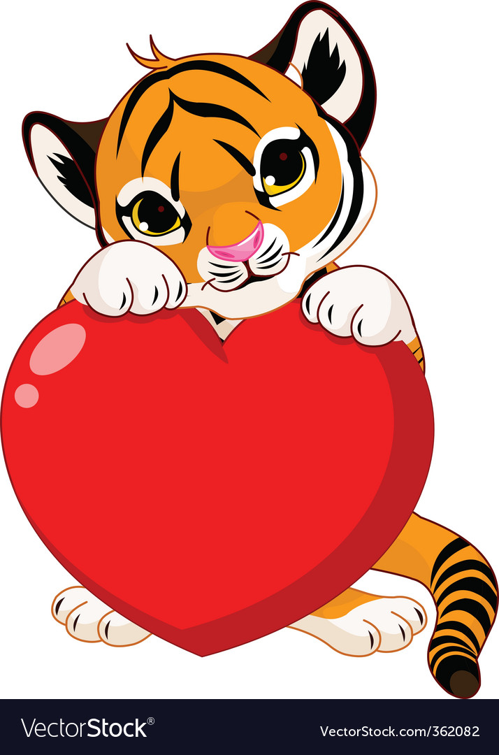 Cute tiger cub holding heart vector
