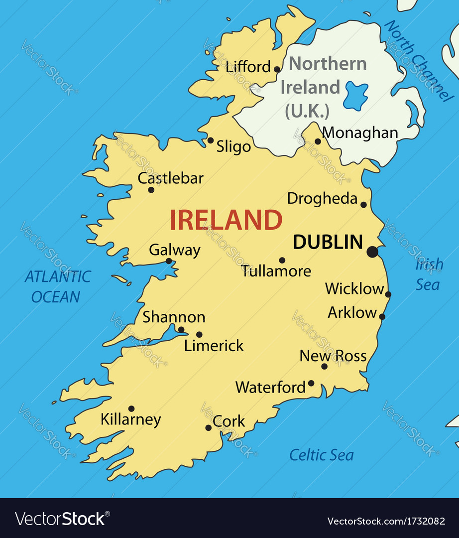 Republic of ireland  map vector