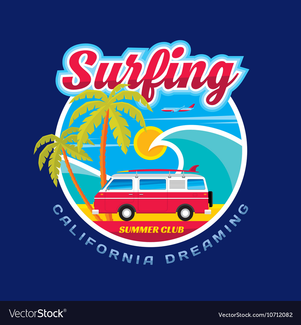 Surfing california dreams vector