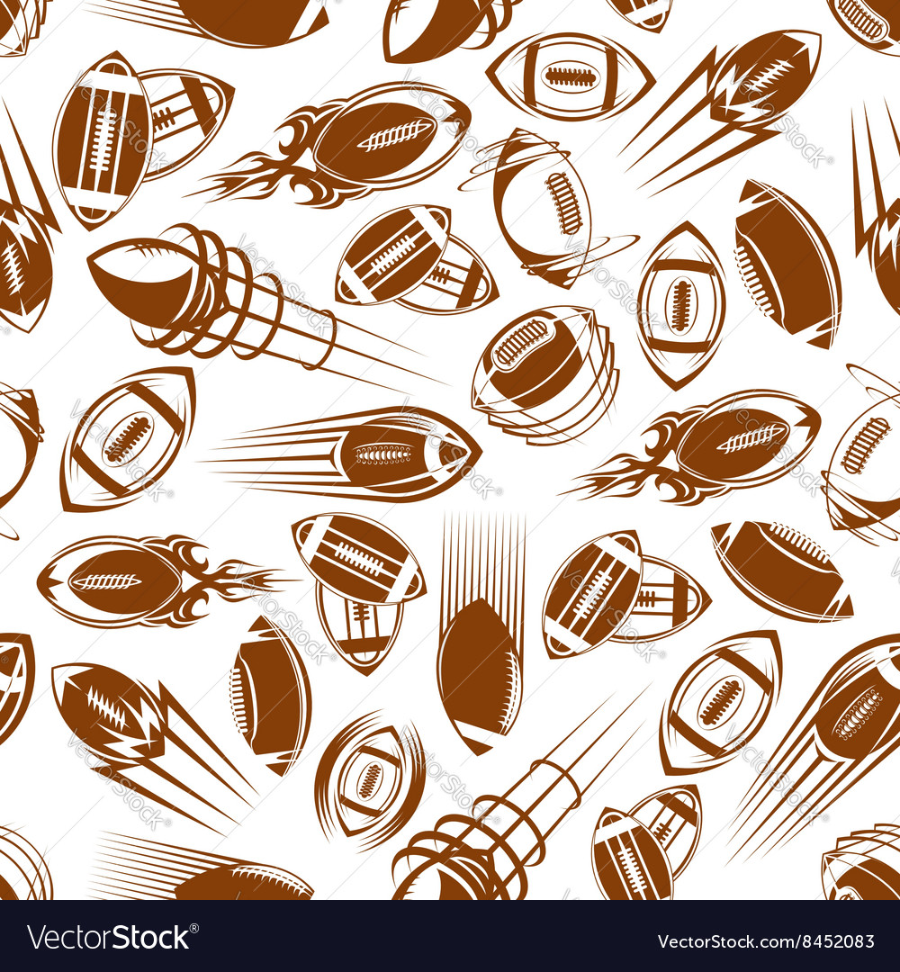 American football or rugby balls seamless pattern vector