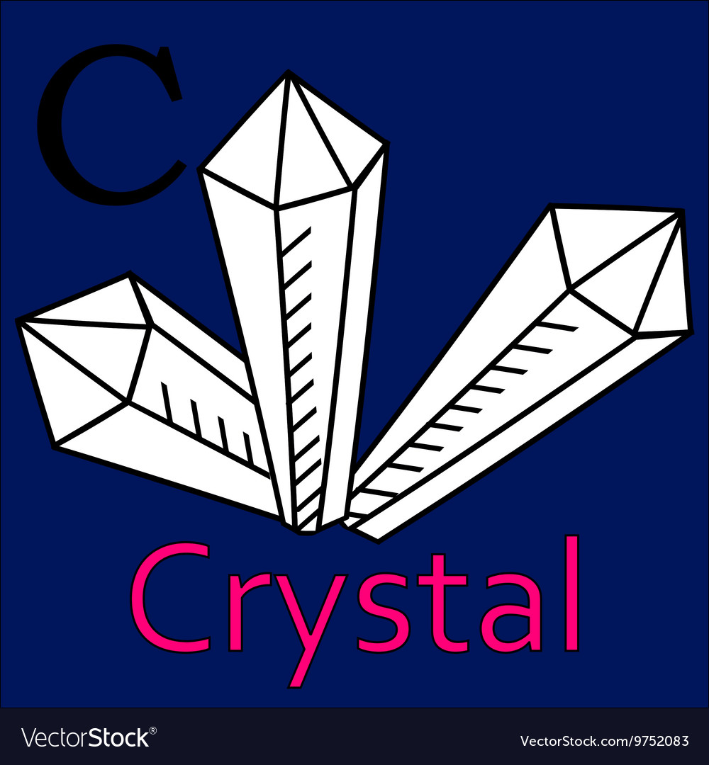 C letter crystal coloring microscope vector