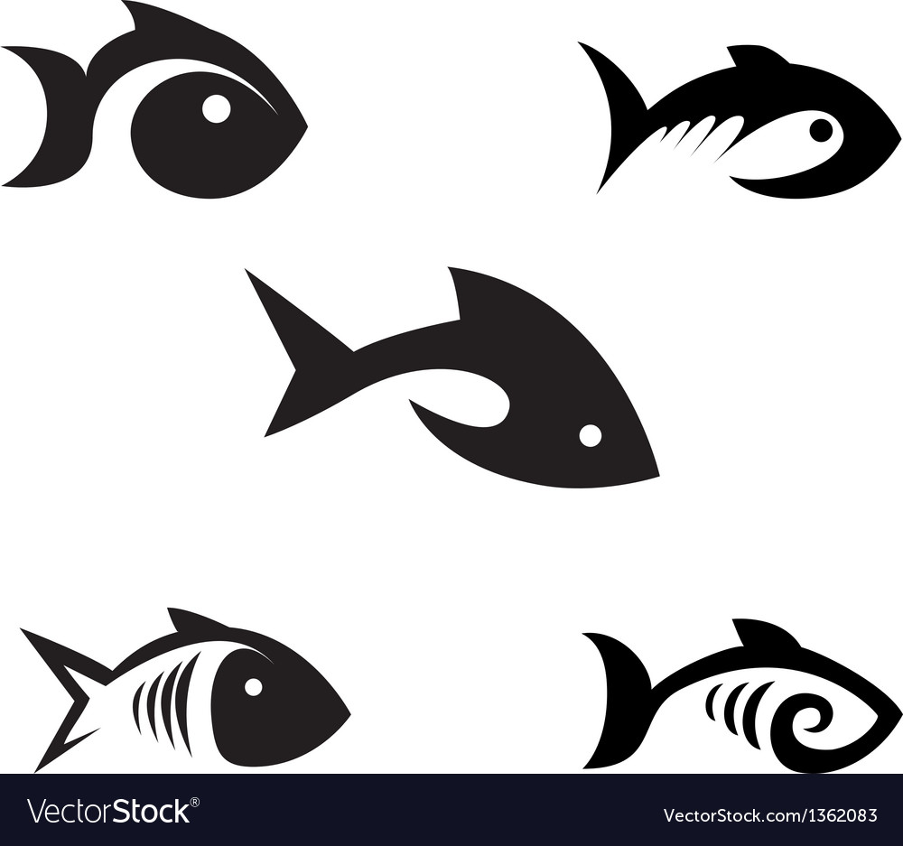 Different options of the stylized fishes on a vector