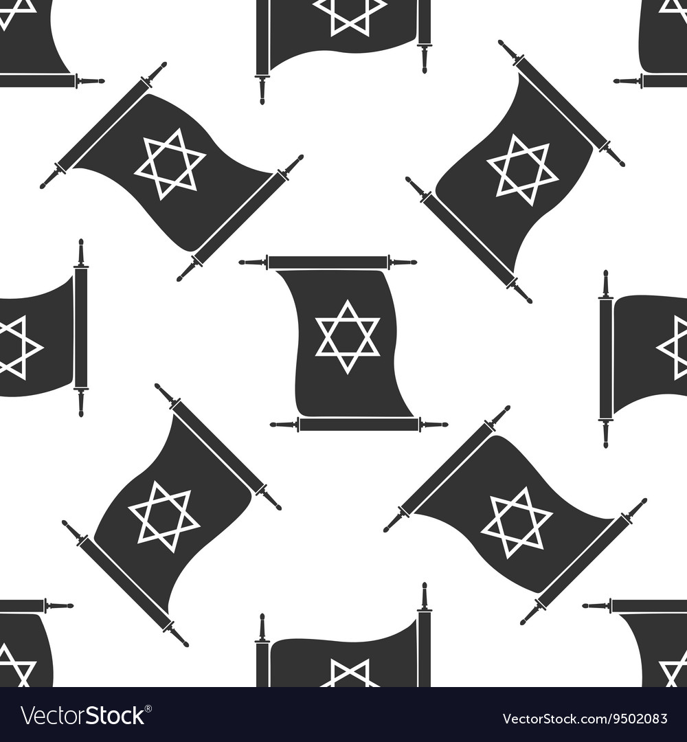Star of david from scroll icon pattern on white vector