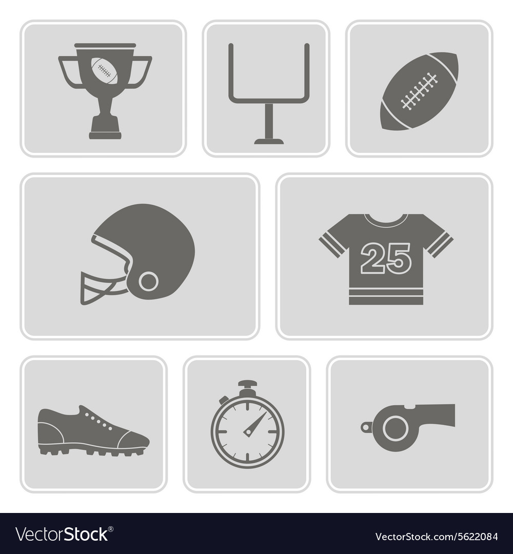 Monochrome set with american football icons vector