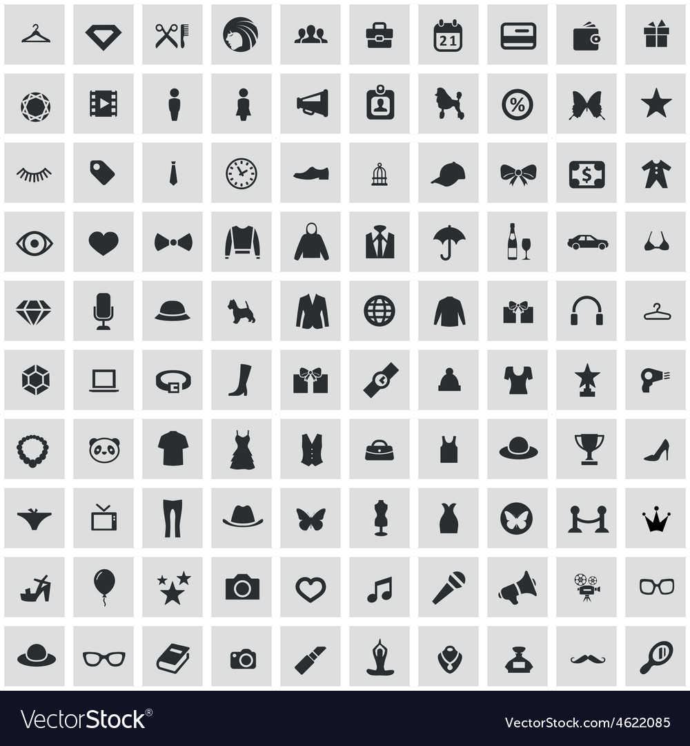 100 fashion icons vector