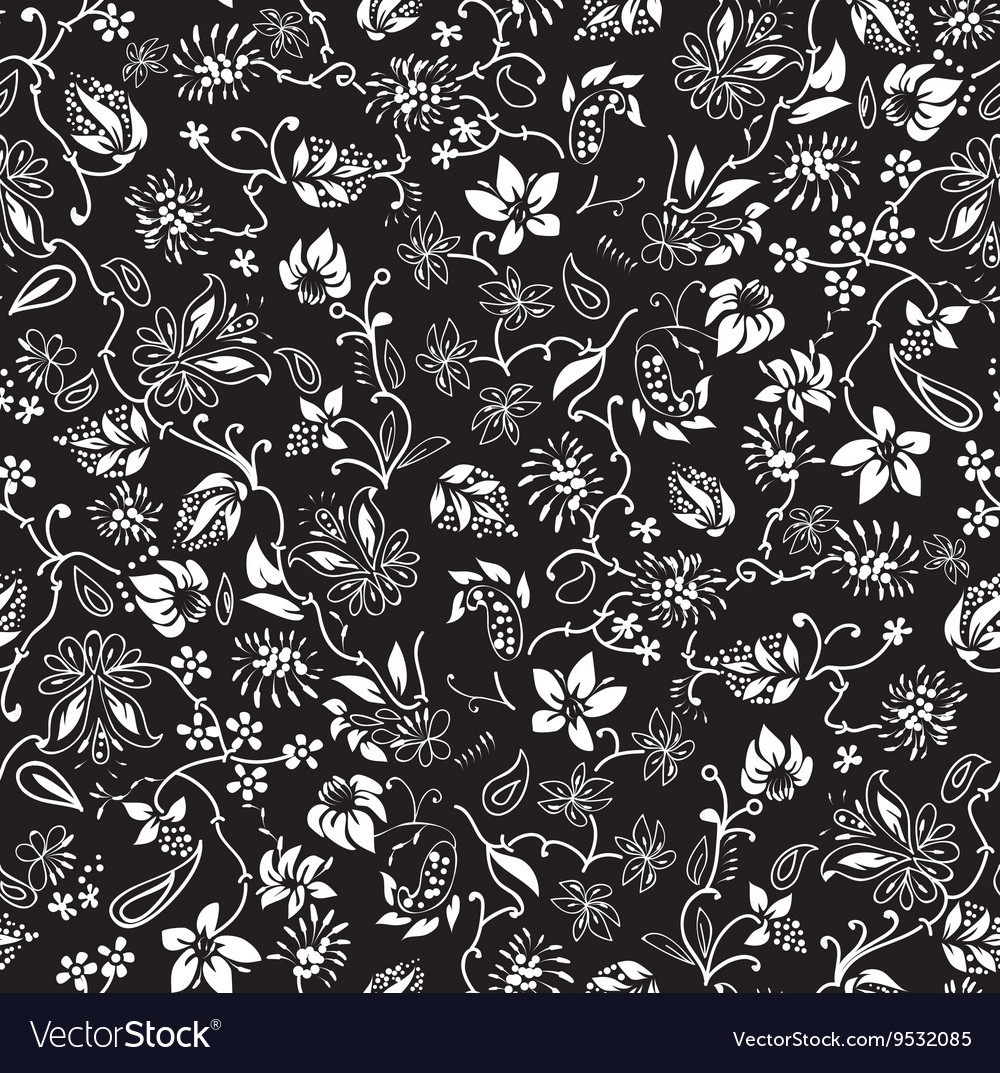 Ditsy black and white floral seamless pattern vector