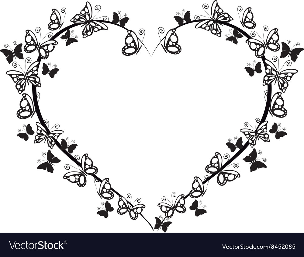 Frame heart with butterflies vector
