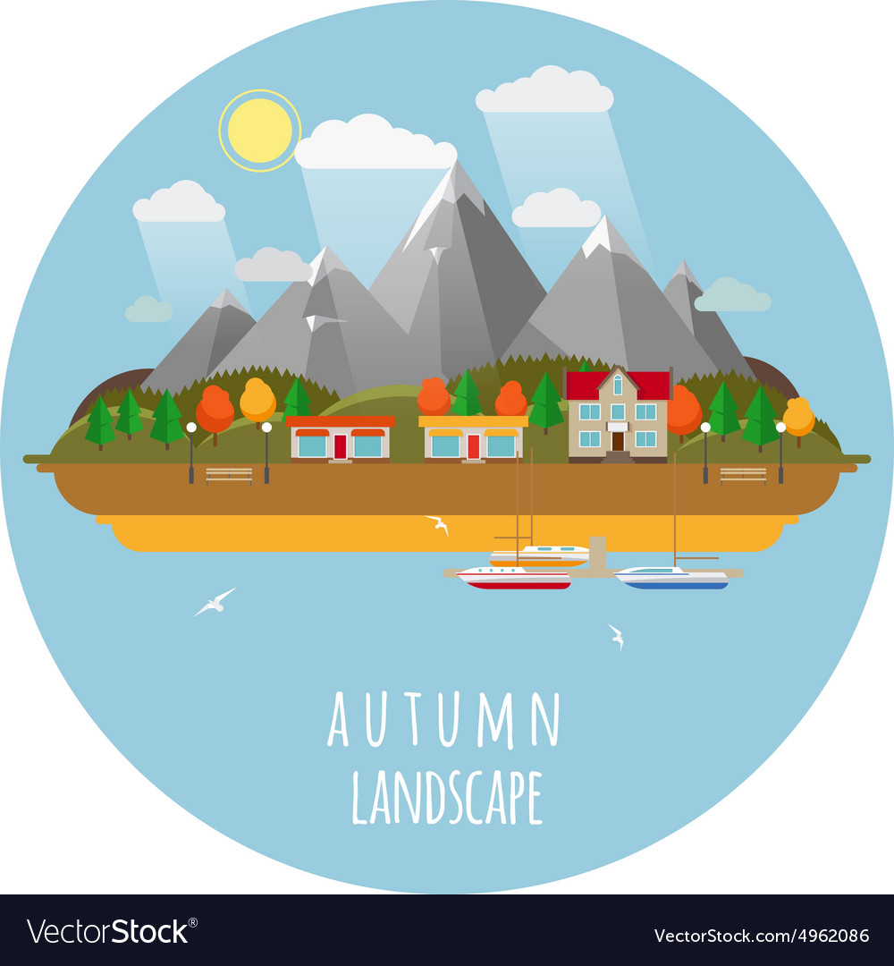 Flat fall landscape with clouds vector