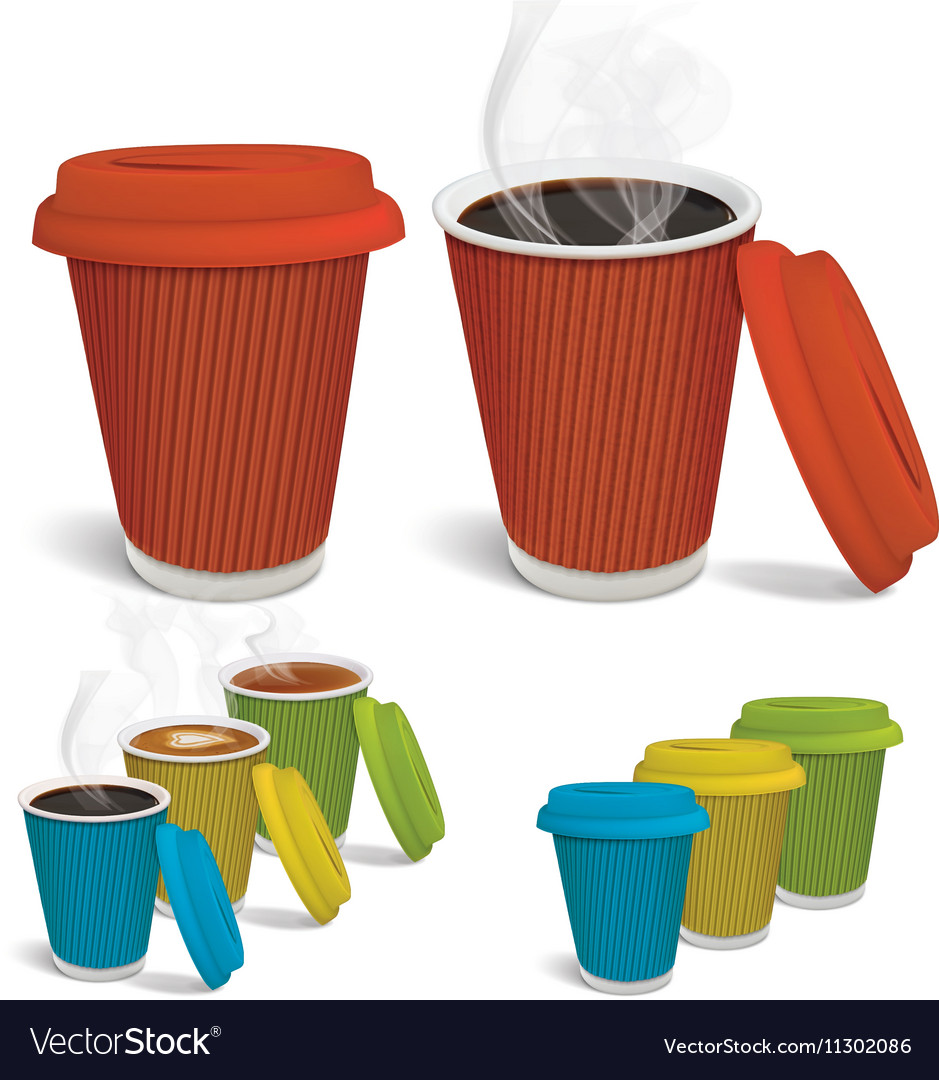 Hot tea cappuccino coffee in colorful paper cups vector