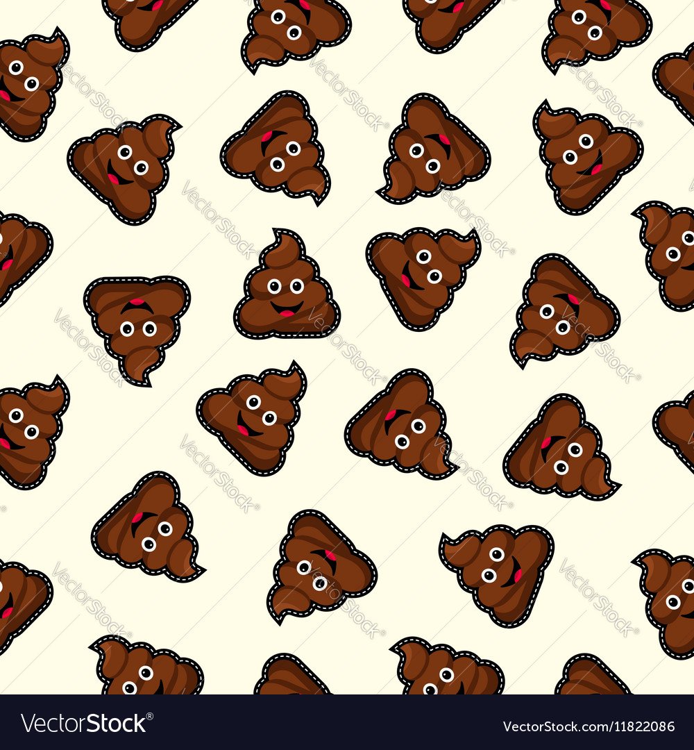 Seamless background with cute poo cartoon vector