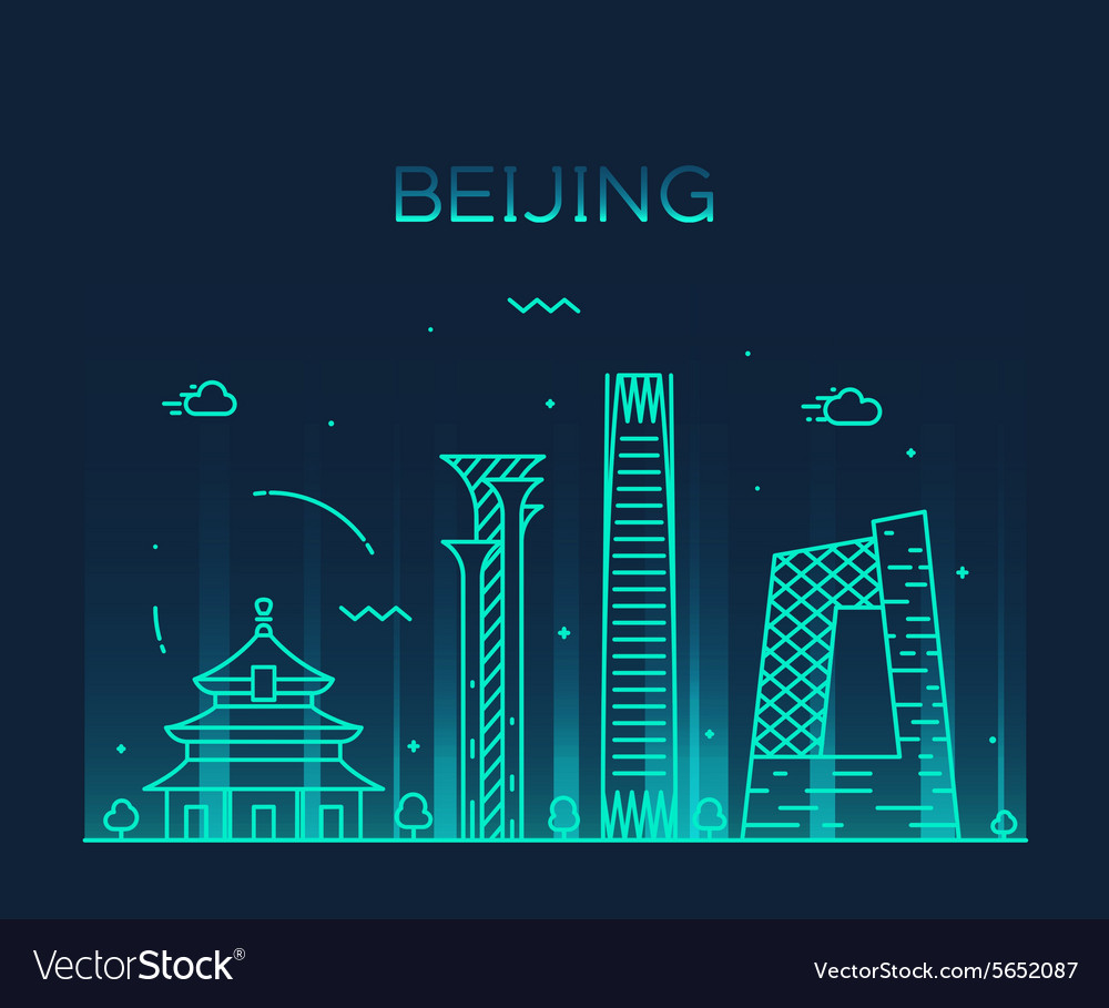 Beijing skyline trendy linear vector