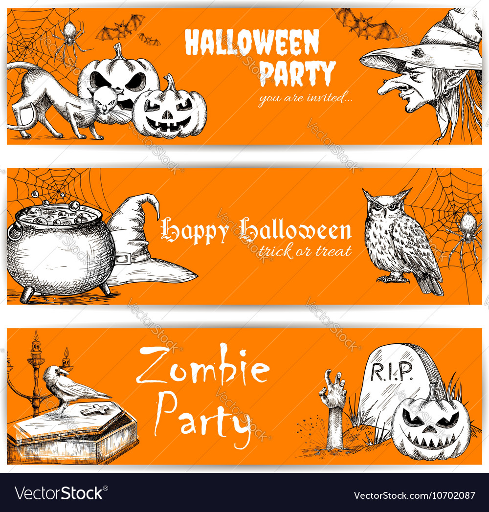 Halloween celebration banners with text vector