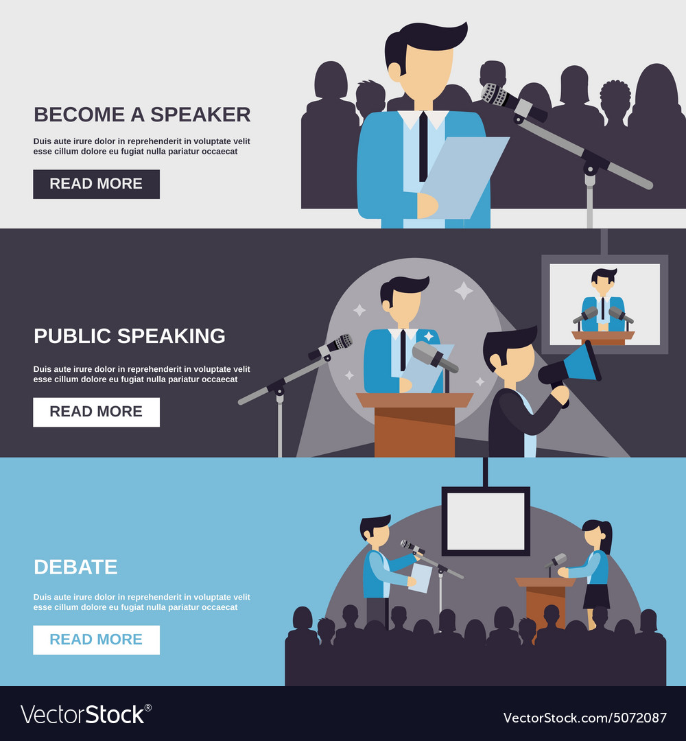 Public speaking banner vector