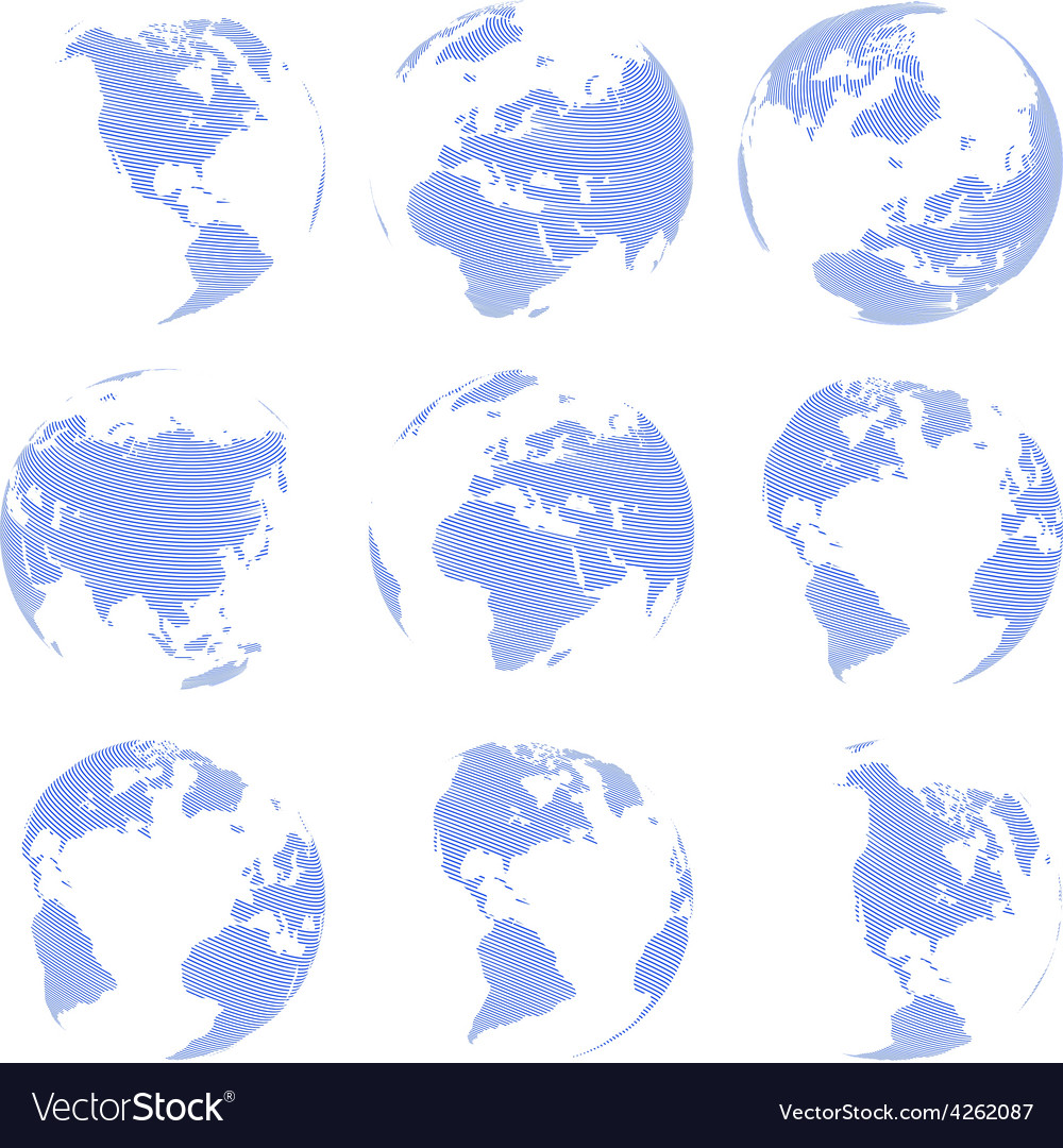 Set of nine abstract globe isolated on white vector