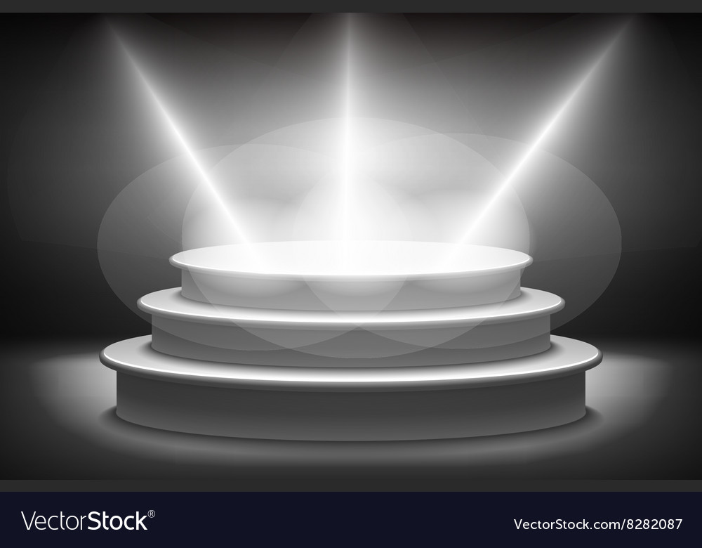 Stage for awards ceremony black podium pedestal vector