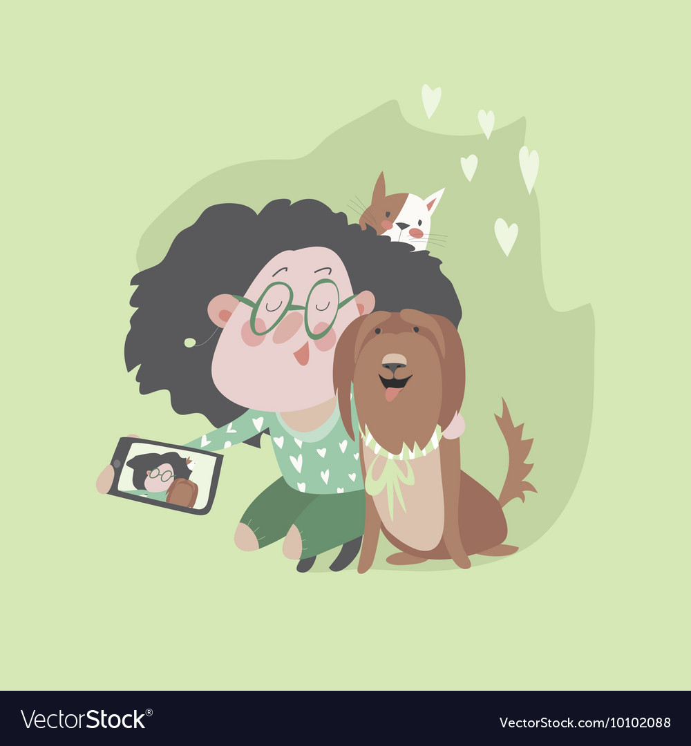 Cute girl with dog and cat makes selfie vector