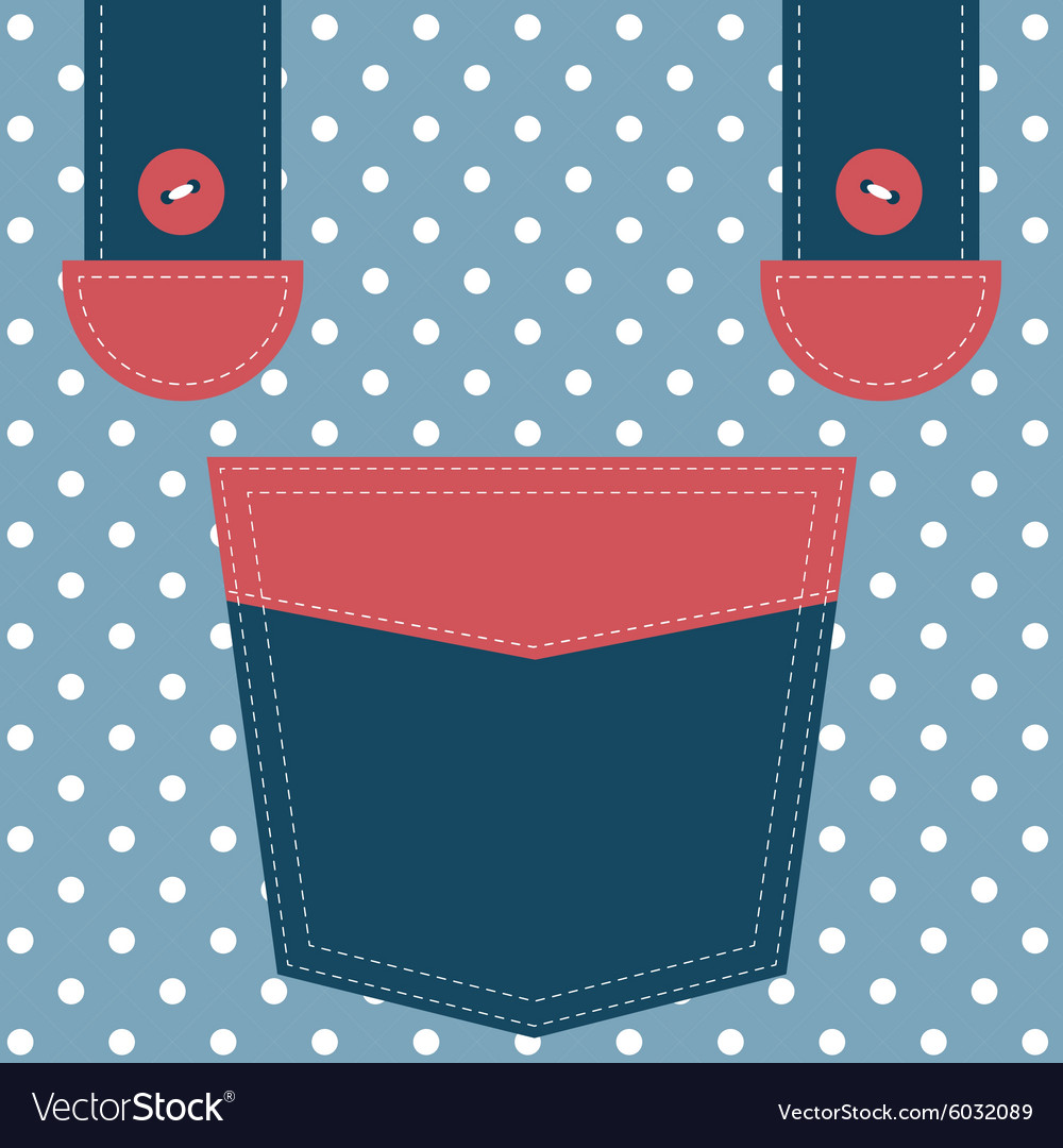 Blue pocket and suspenders vector
