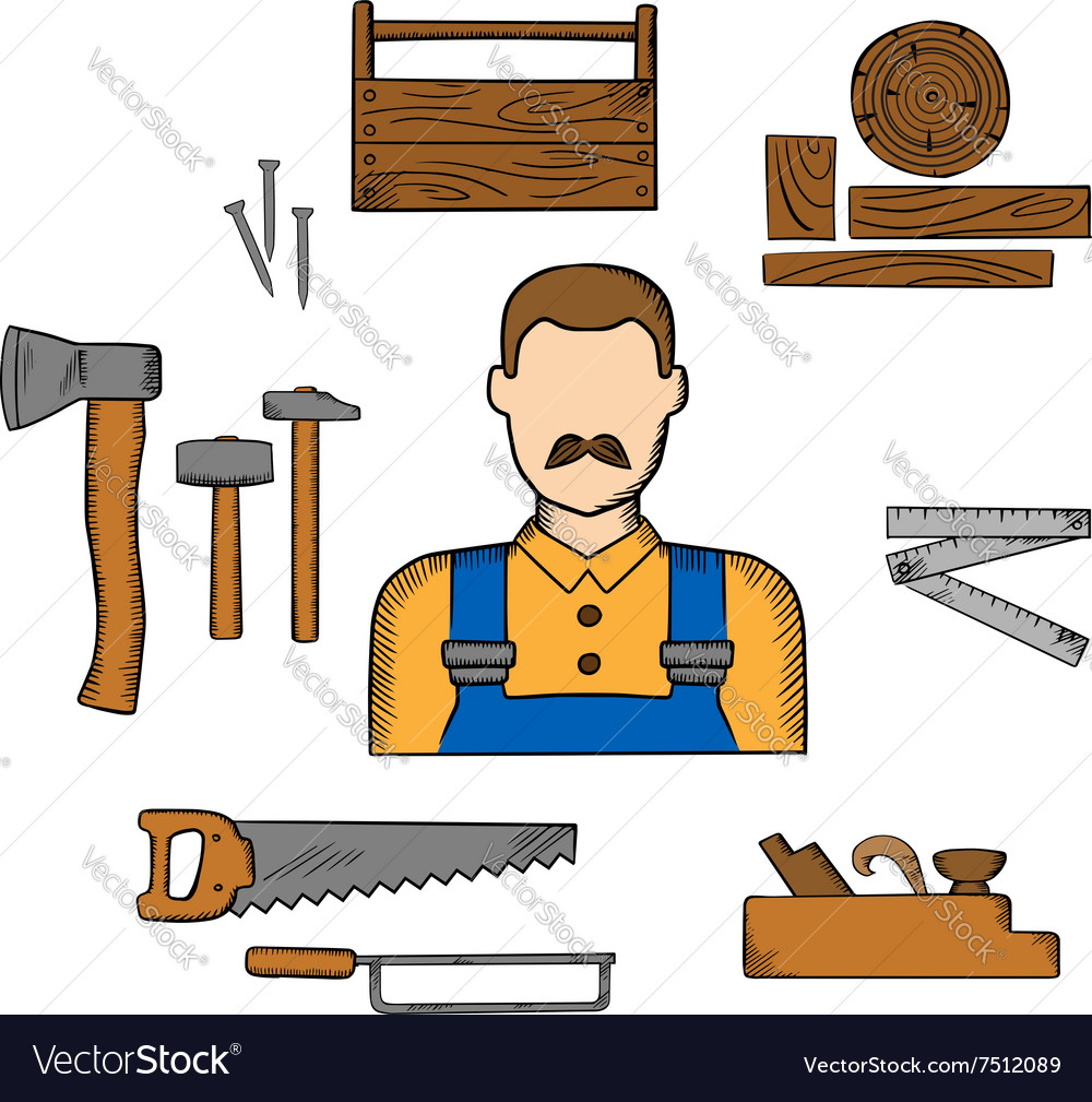 Carpenter with timber and tools vector