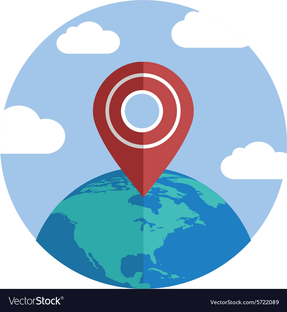Globe with pin single flat color icon vector