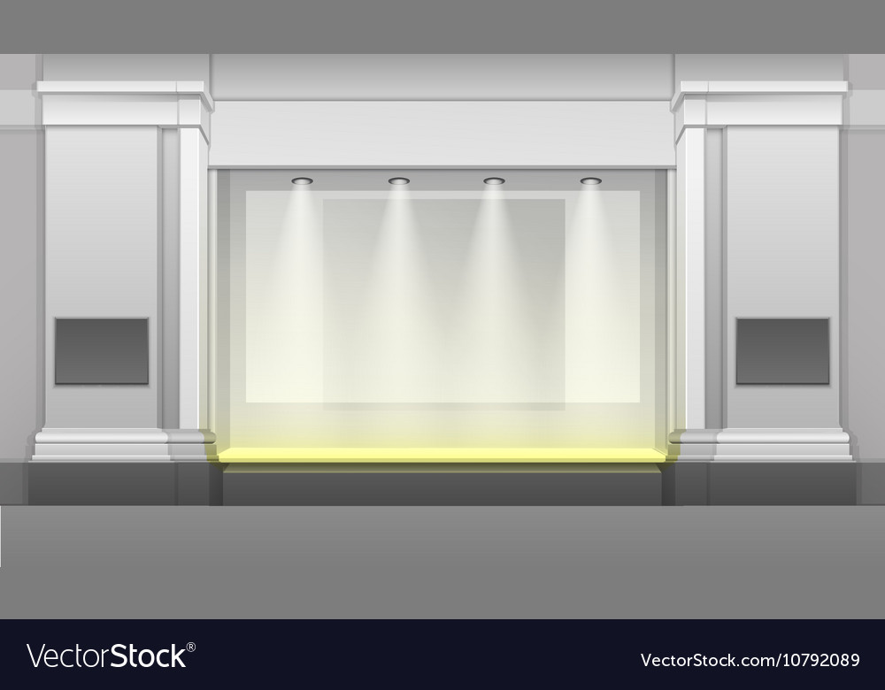 Shop building with showcase backlight isolated vector