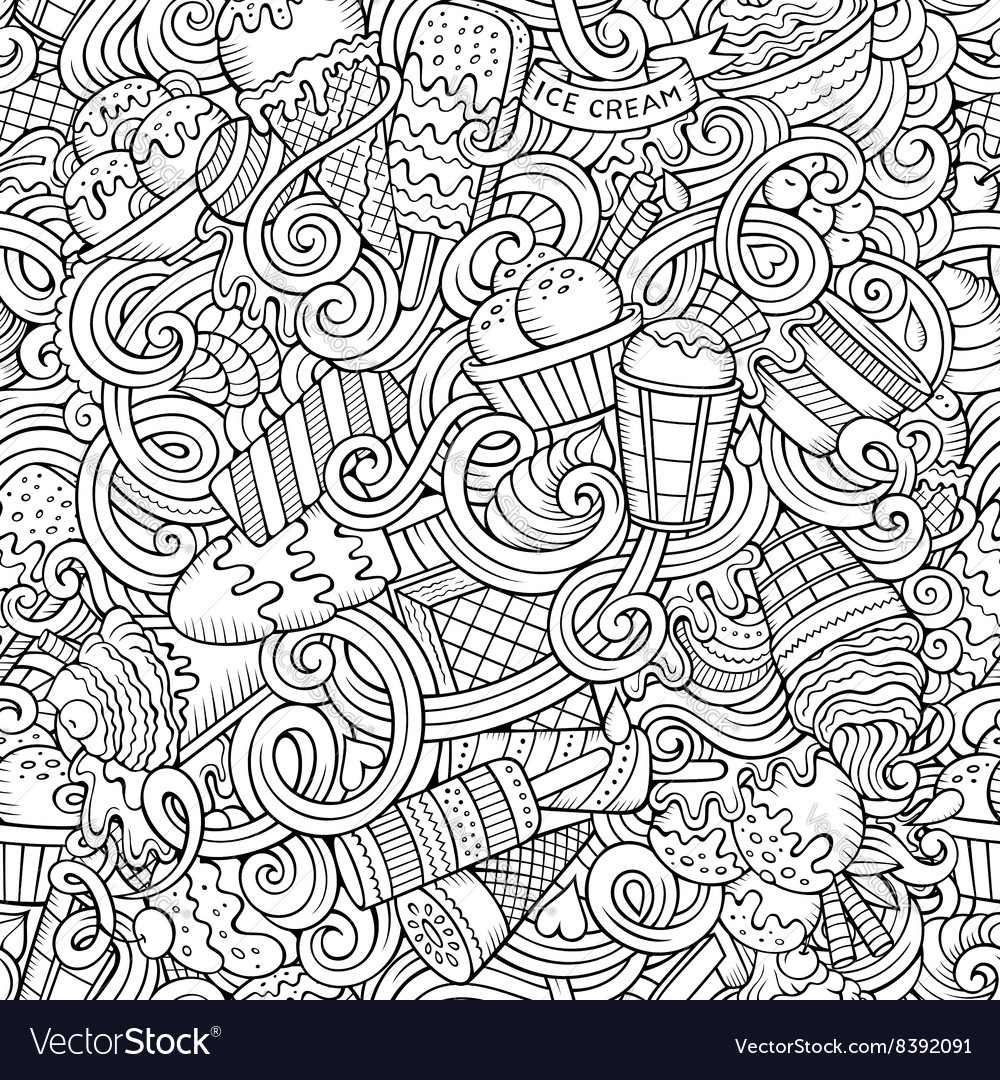 Cartoon handdrawn ice cream doodles seamless vector