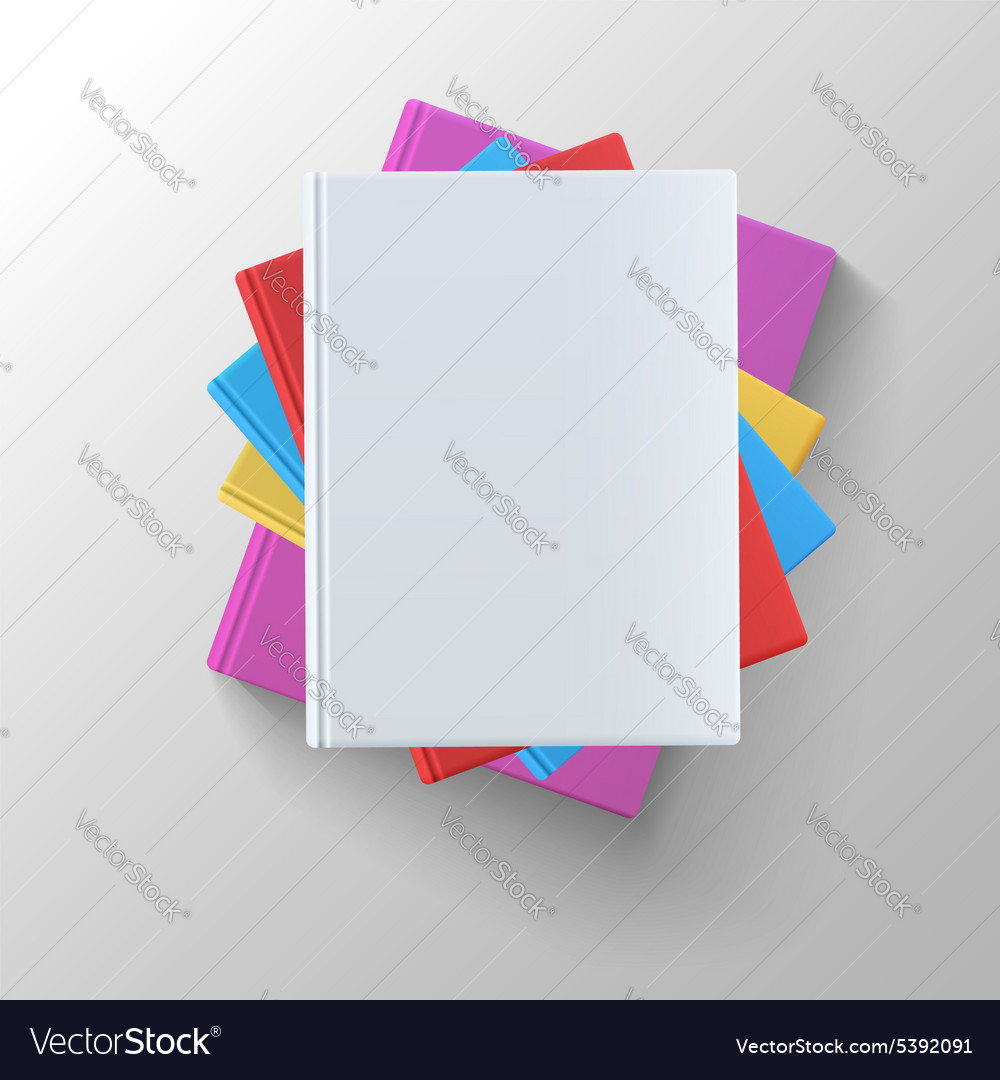 Stack of blank books top view vector