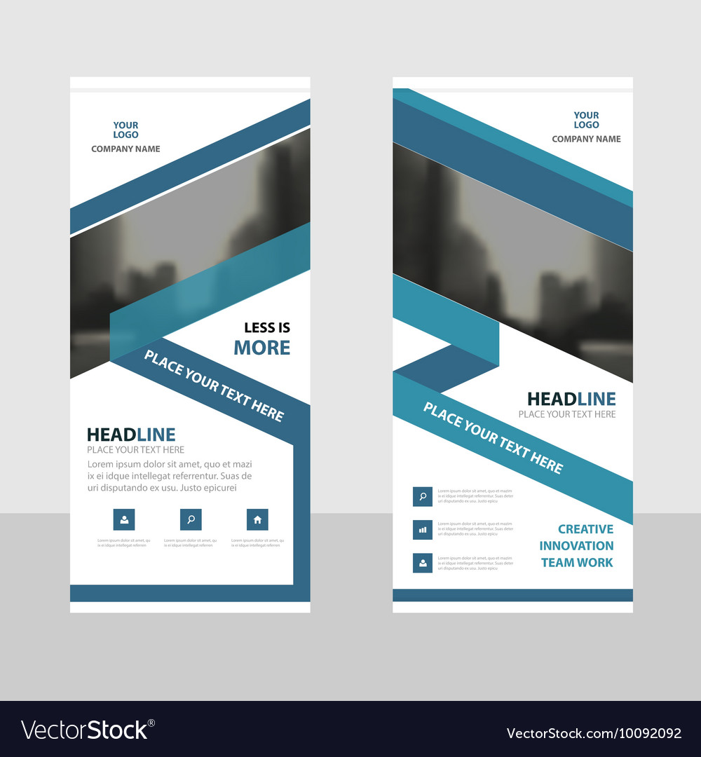 Blue roll up business brochure flyer banner design vector
